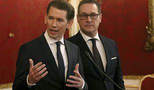 Dwaj prawicowi koalicjanci w Austrii, Sebastian Kurz i hezin-Christian Strache