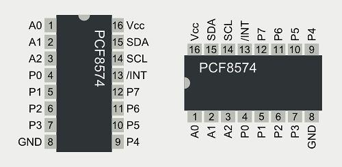 Schemat pinów PCF8574