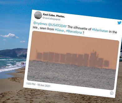 """Niesamowite zjawisko w Hiszpanii. """"Pływające miasto"""" widziane z wybrzeża Barcelony"""