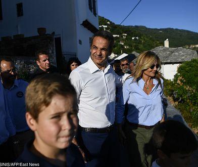 Grecja. Kyriakos Mitsotakis (lider Nowej Demokracji) wraz z żoną Marewą
