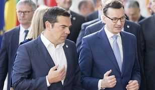 Ustępujący premier Grecji Aleksis Tsipras z szefem polskiego rządu przed wyborami do Parlamentu Europejskiego