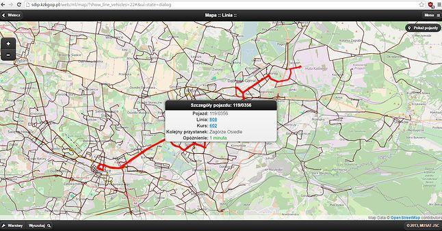 Przykład na działanie SDIP - na linii jeżdżą o tej porze 3 autobusy, system pokazuje tylko jeden