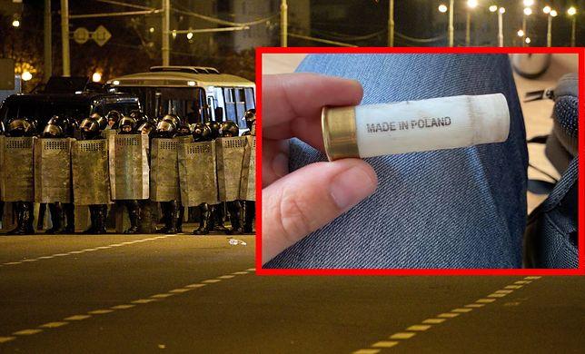 Łuska z napisem Made in Poland znaleziona po nocy zamieszek w Mińsku