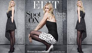 Claudia Schiffer świętuje 30-lecie w branży. Groszkowa sesja w The Edit