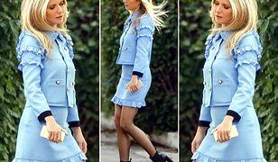 Niebieska garsonka Gucci i nogi Gwyneth Paltrow