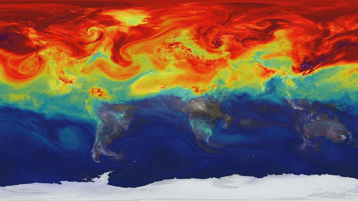 Mapa przedstawia zaburzenie równowagi budżetu energetycznego Ziemi