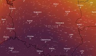 W środę w południe centrum wyżu (najciemniejszy kolor) znajdzie się nad południową Polską