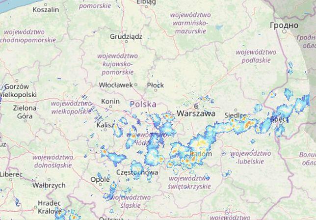 Gdzie są burze. Mapa z godziny 17.00