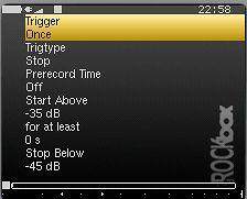 Opcje automatycznego rozpoczęcia nagrywania dźwięku