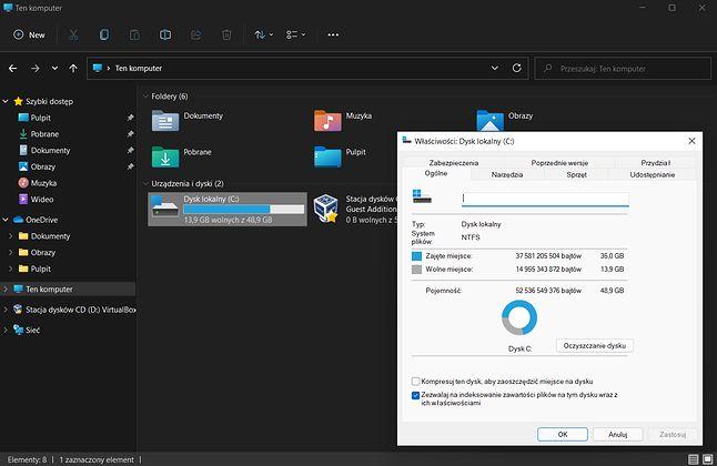 Właściwości dysku w Windows 11. W systemie włączony ciemny motyw