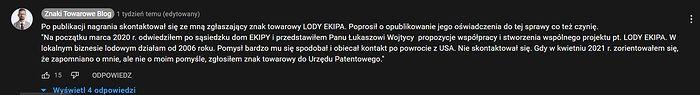 """Komentarz Romana z Krakowa, który zgłosił znak towarowy """"Lody Ekipa"""""""