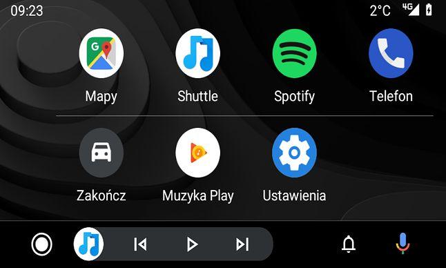 Nowy interfejs Androida Auto po zmianach latem 2019 roku.