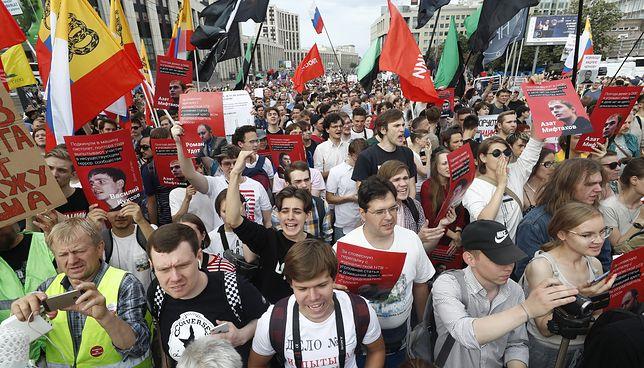 Moskwa. Protest w stolicy Rosji.