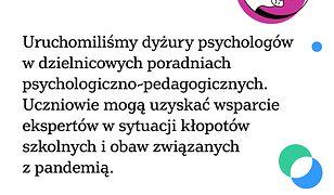Warszawa uruchomiła wsparcie psychologiczne dla rodziców i uczniów.