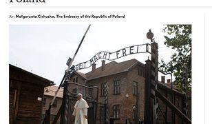 Odpowiedź polskiej ambasady portal z Norwegii zilustrował zdjęciem papieża Franciszka w Auschwitz-Birkenau