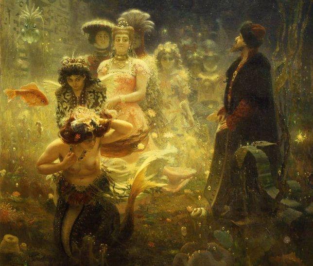 W mitologii słowiańskiej znany jest też opis powstania ludzkiego świata (Ziemi) z wody pierwotnego oceanu.