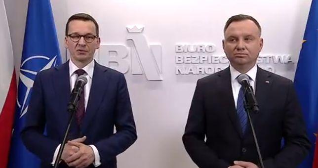Koronawirus w Polsce. Premier Mateusz Morawiecki oraz prezydent Andrzej Duda
