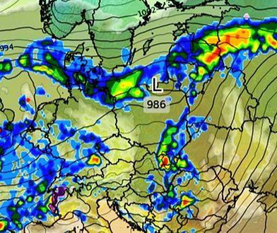Pogoda. Strefy opadów obejmują północne i południowo-wschodnie regiony Polski
