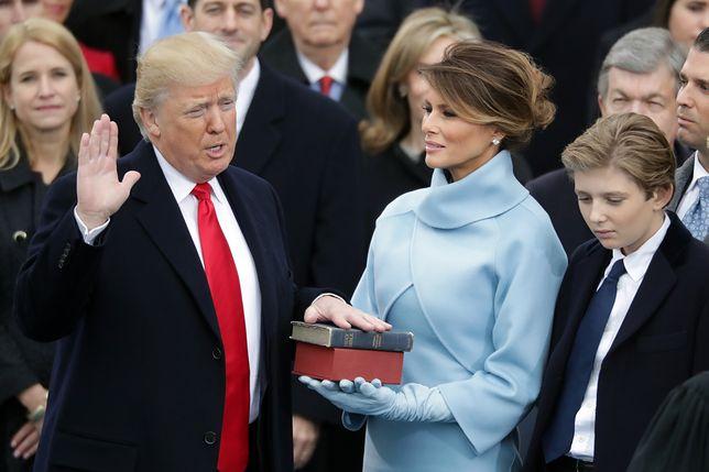 Donald Trump z żoną, Melanie i synem, Barronem