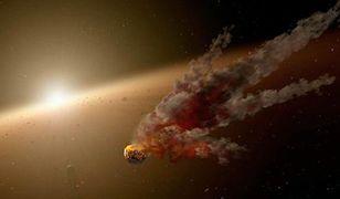 Artystyczna wizja efektów kolizji między planetoidami w pobliżu gwiazdy NGC 2547-ID8