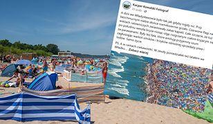 Wakacje 2020. Tłumy plażowiczów we Władysławowie. Autor zdjęć zabrał głos