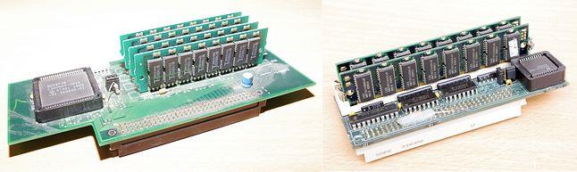 Rozbudowa pamięci Atari TT wymagała dedykowanych kart. Po lewej karta pamięci Atari, po prawej karta zbudowana w oparciu o pamięć SIMM 72pin