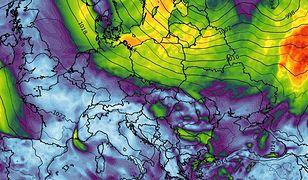 Pogoda może być groźna. Alerty IMGW. Im dalej na północ, tym silniejsze porywy wiatru (wxcharts.com/screen)