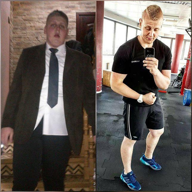 Radosław Pasierb przed i po odchudzaniu.