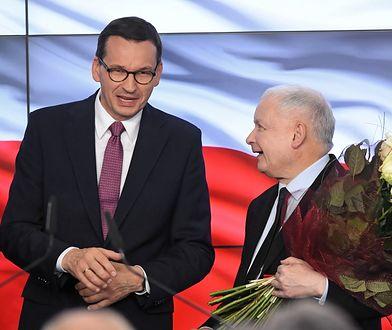 Wyniki wyborów 2019. Premier Mateusz Morawiecki i prezes PiS Jarosław Kaczyński