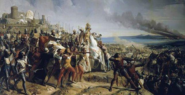 Bitwa pod Montgisard na obrazie Charlesa-Philippe''a Lariviere. W lewej części obrazu widać niesionego w lektyce Baldwina IV Trędowatego