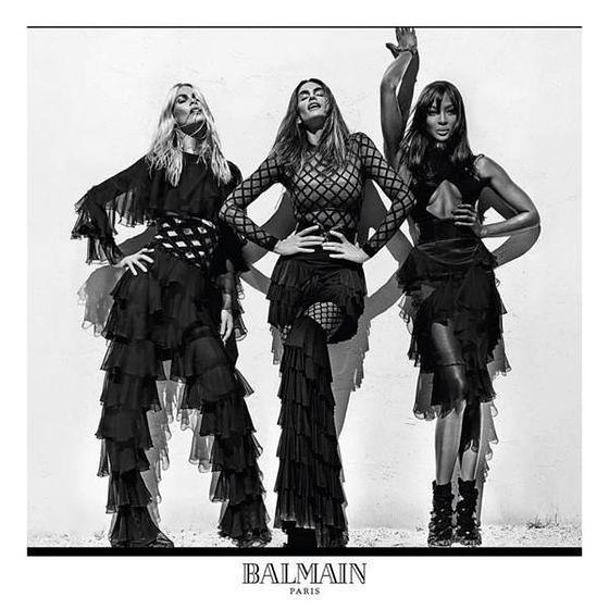 Claudia Schiffer, Cindy Crawford i Naomi Campbell w kampanii Balmain