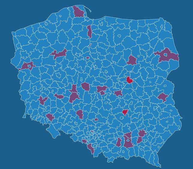 Lokalizacja likwidowanych sklepów na mapie Polski
