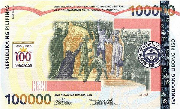 Największy banknot świata - filipińskie Pesso (35,6 x  21,6 cm)