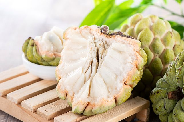 fresh sugar apple fruit(Custard Apple),sweetsop on wooden table background