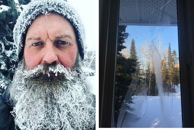 Oszroniona broda, pękająca szyba w oknie - tak wygląda zima w Kanadzie i USA