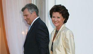 Jolanta Kwaśniewska z mężem Aleksandrem w 2005 roku podczas spotkania z księżną Mette-Marit i księciem Haakonem