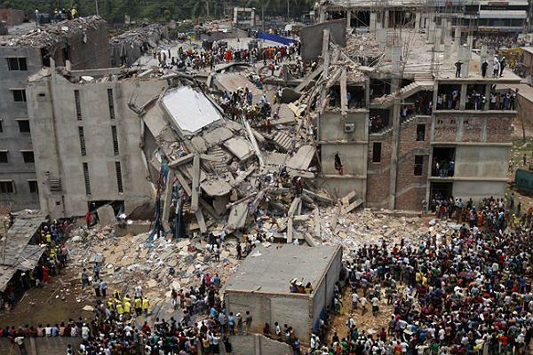 Zawalony budynek w Bangladeszu