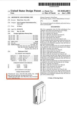 Pierwsza strona patentu US D452,688 S przyznanego firmie SONY i obejmujący obudowę konsoli PlayStation 2.