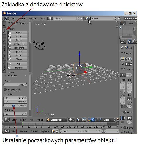 Wstawianie obiektu i jego parametry początkowe