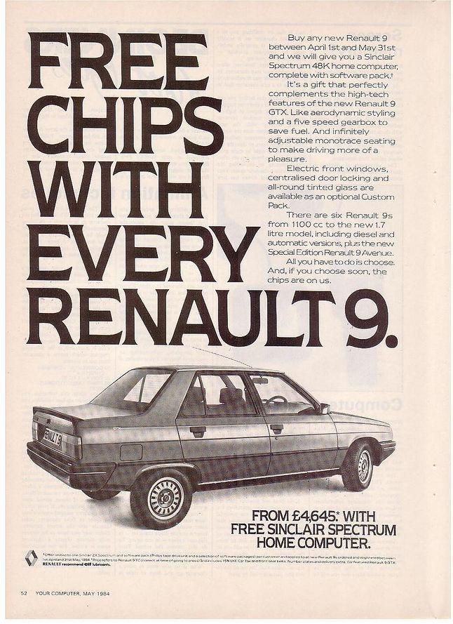 Reklama prasowa z maja 1984 roku. Do każdego zakupionego samochodu, Renault dodaje  ZX Spectrum gratis.