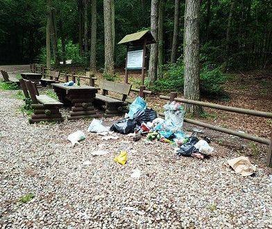 Śmieci pozostawione po weekendzie przy jednym ze szlaków