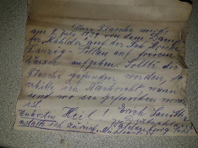 List ukryty w butelce. Dryfował w wodach Bałtyku przez 90 lat