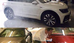 Mycie Volkswagena Tiguana, Porsche i Bentleya / fot. Filip Chajzer via Facebook