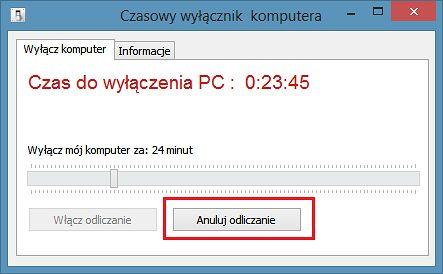 Krok III - Program odlicza czas - jeśli chcesz anulować odliczanie kliknij na Anuluj odliczanie