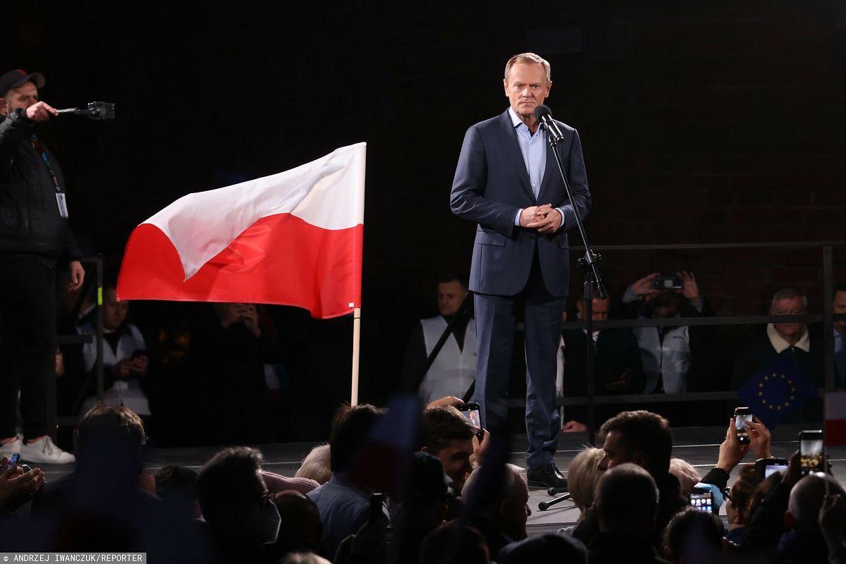 Donald Tusk na proteście w Warszawie