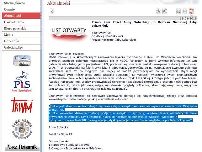 List otwarty Anny Sobeckiej do Macieja Hamankiewicza.