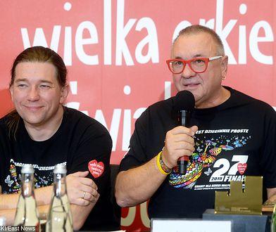 Rzecznik WOŚP Krzysztof Dobies (L) oraz prezes WOŚP Jerzy Owsiak (P)