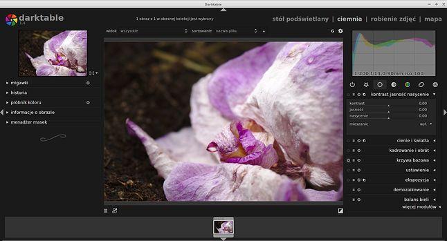DarkTable - Program do wywoływania i obróbki zdjęc.