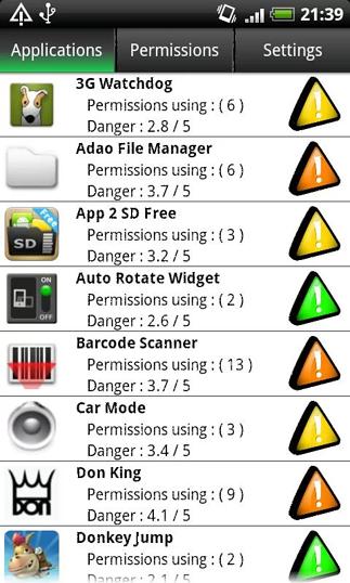 PermissionDog - widok listy aplikacji z oznaczeniami niebezpieczeństwa