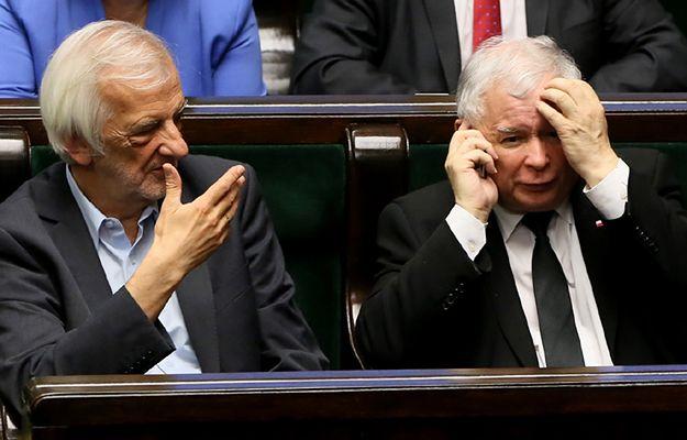 Wicemarszałek Sejmu Ryszard Terlecki i prezes PiS Jarosław Kaczyński podczas bloku porannych głosowań w Sejmie 9 czerwca